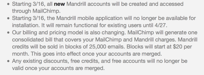 Mandrill Important Policy Changes