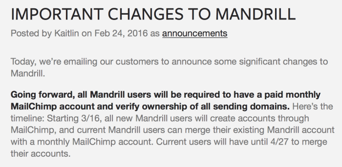 Mandrill Policy Changes