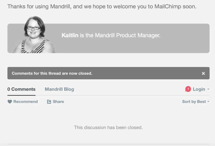 Mandrill Blog is Closed for Discussion on Policy Changes